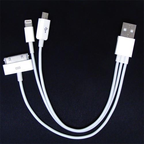 Cable 3 en 1 USB MicroUSB Lightning