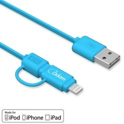 Cable ADAM MicroUSB y Lightning AZUL